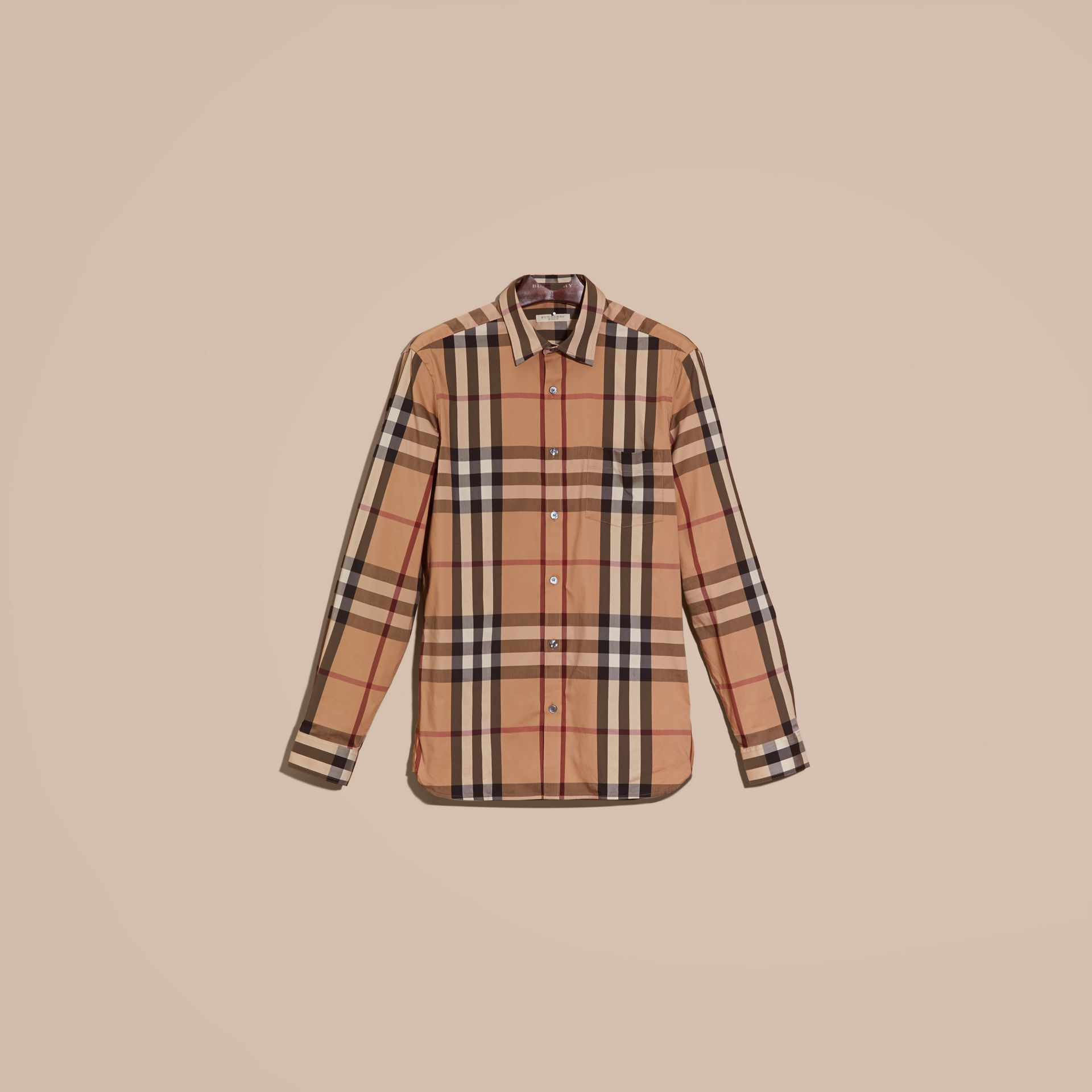 Camel Check Stretch Cotton Shirt Camel - gallery image 4