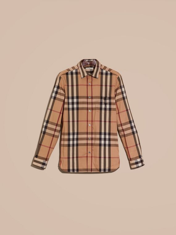 Camel Check Stretch Cotton Shirt Camel - cell image 3