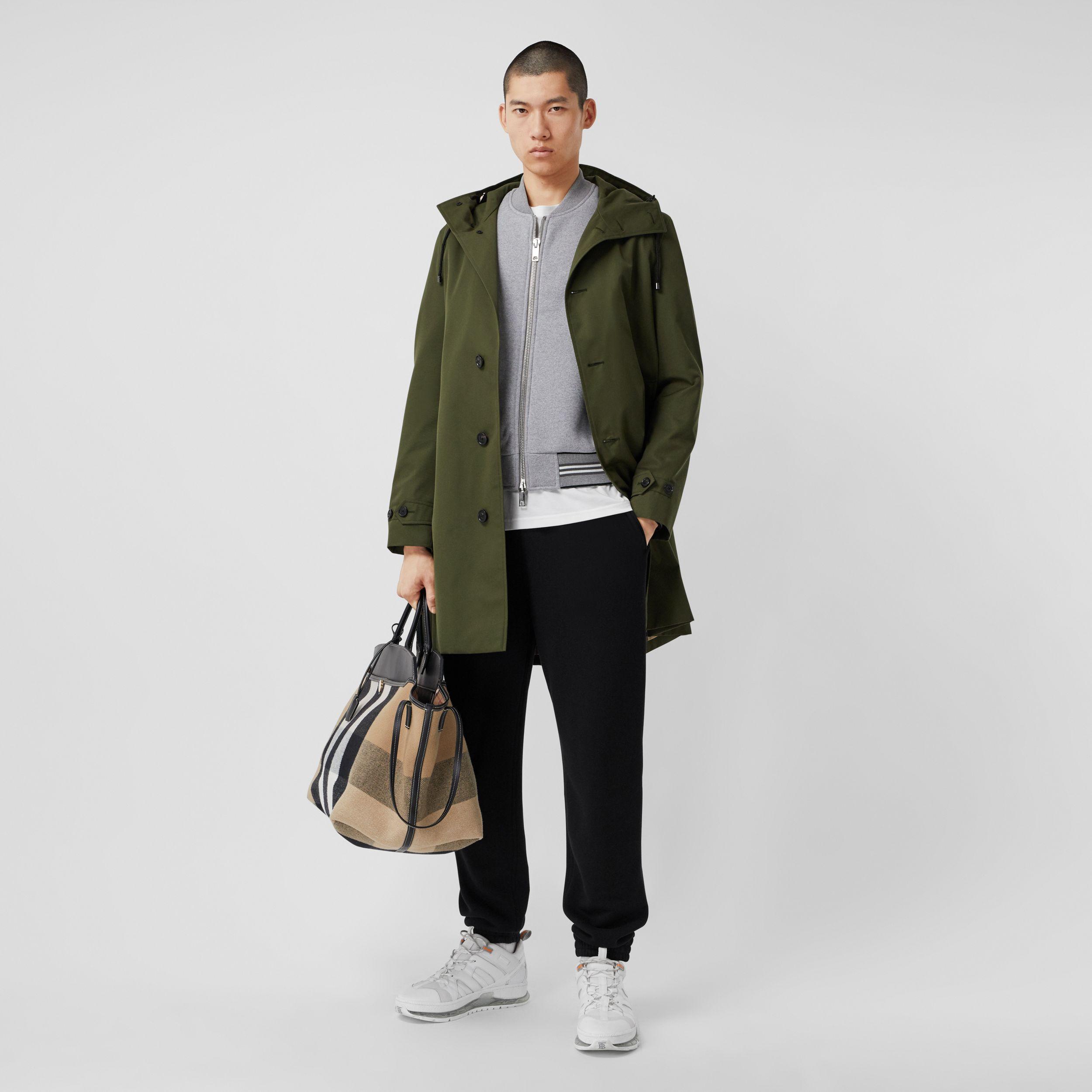 Cotton Gabardine Hooded Coat in Dark Olive Green - Men | Burberry - 1