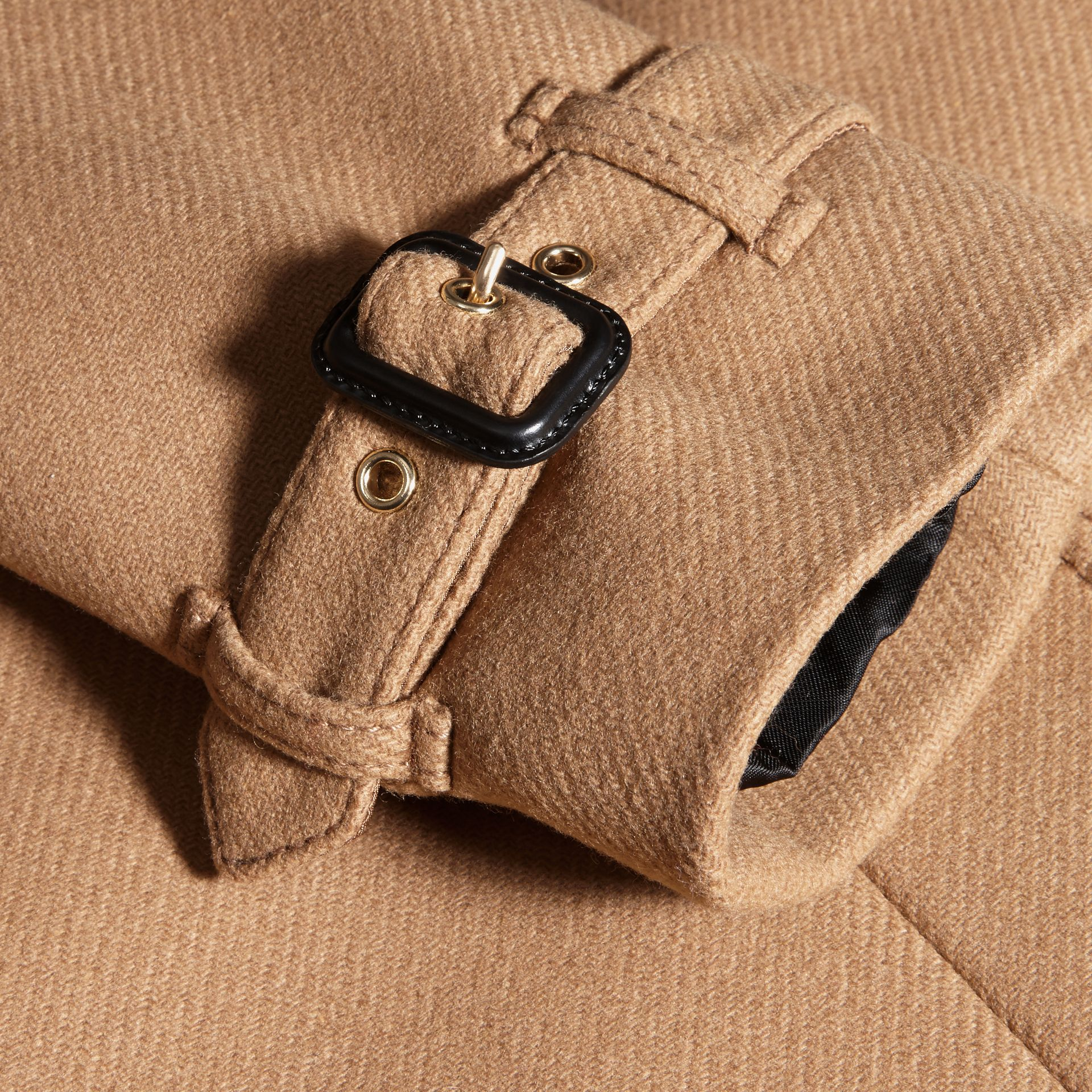 Technical Wool Cashmere Funnel Neck Coat in Camel - gallery image 2