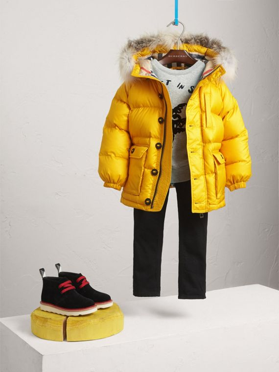 Detachable Fur Trim Hooded Down-filled Puffer Coat in Larch Yellow