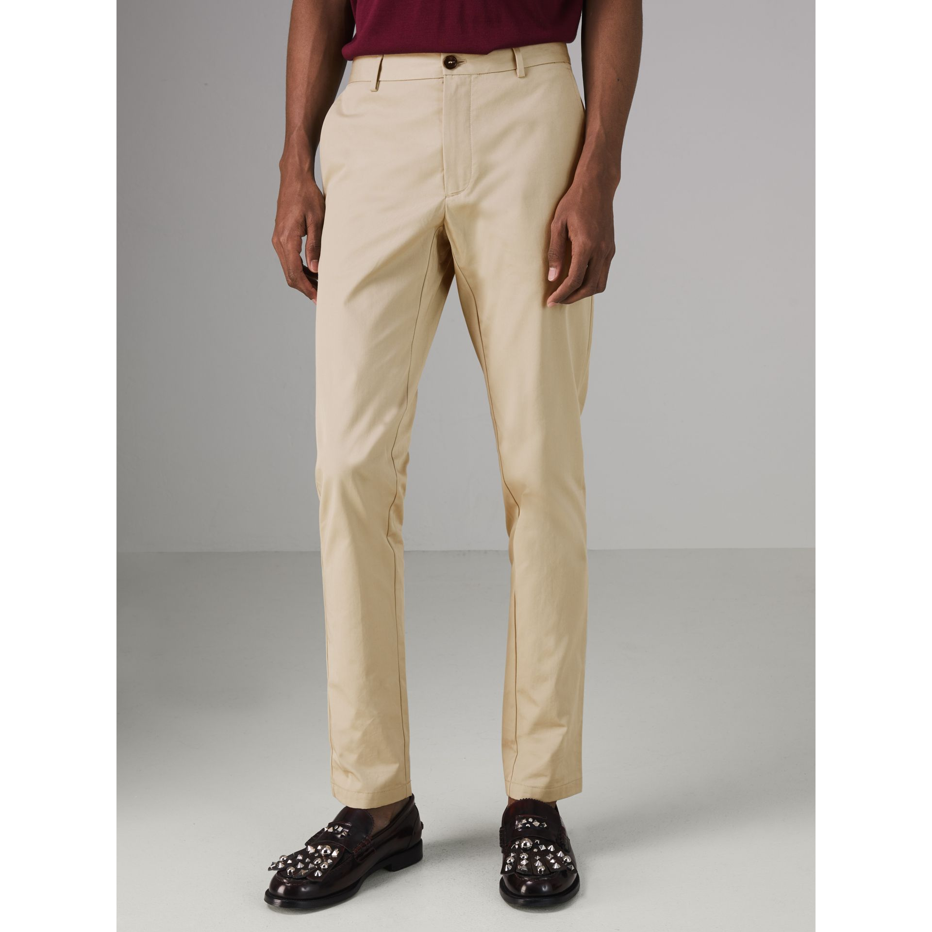 Slim Fit Cotton Chinos in Stone - Men | Burberry Australia - gallery image 4