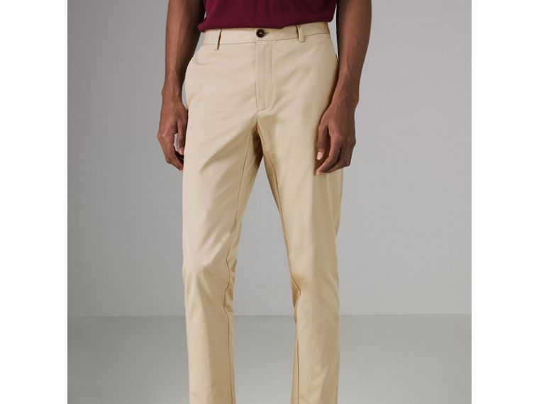 Slim Fit Cotton Chinos in Stone - Men | Burberry - cell image 4