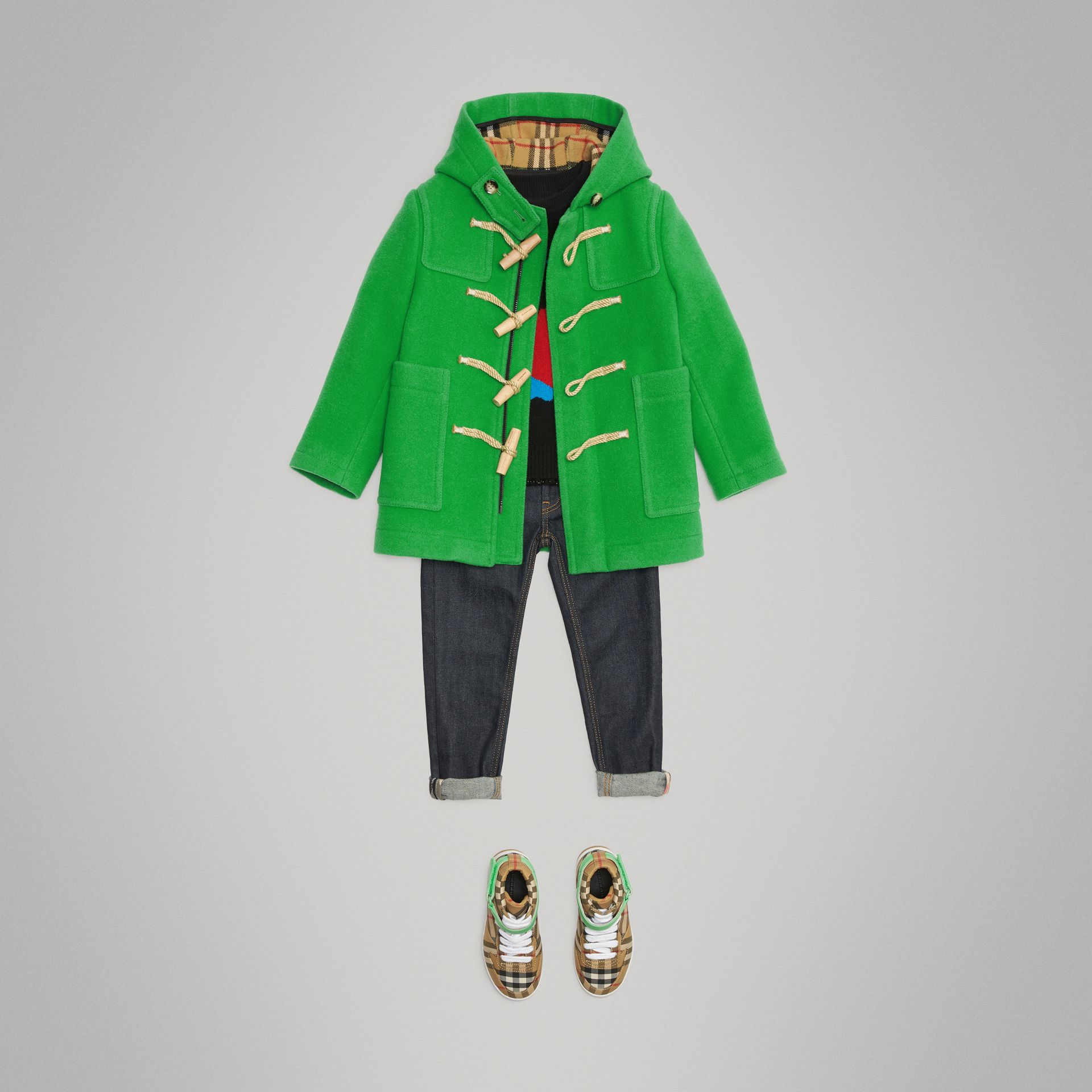 Double-faced Wool Duffle Coat in Bright Grass Green | Burberry - gallery image 2