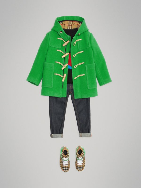 Double-faced Wool Duffle Coat in Bright Grass Green | Burberry Australia - cell image 2