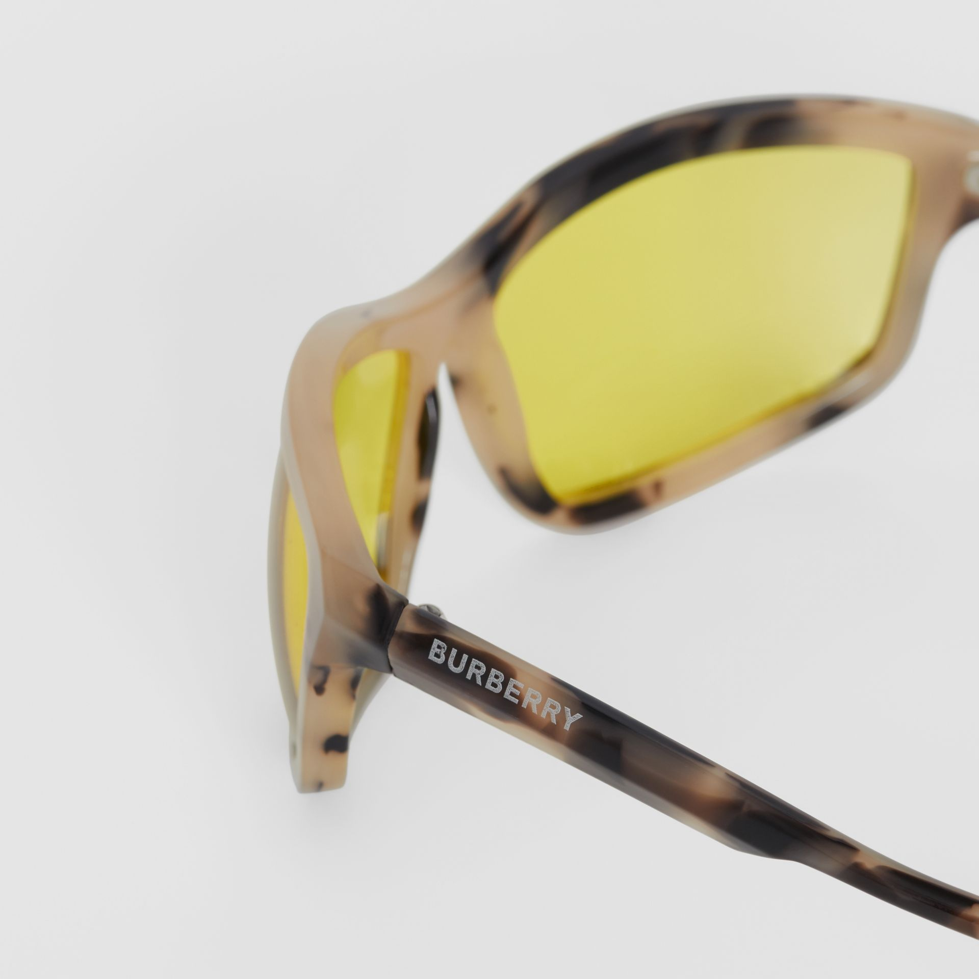 Wrap Frame Sunglasses in Yellow - Men | Burberry - gallery image 1