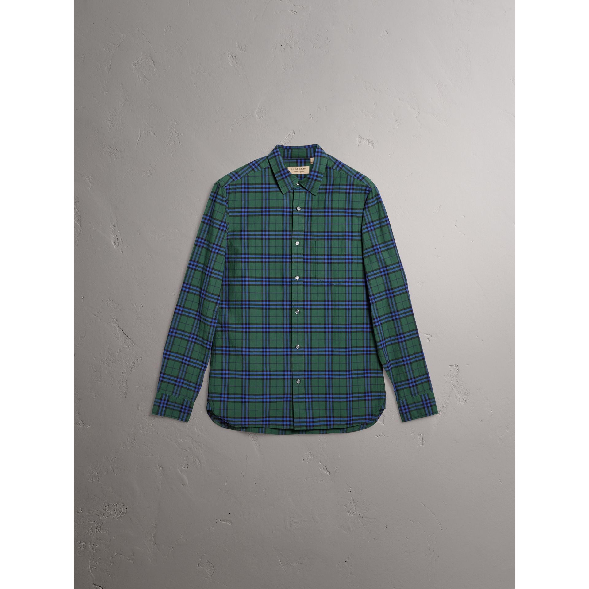 Check Cotton Shirt in Forest Green - Men | Burberry - gallery image 4
