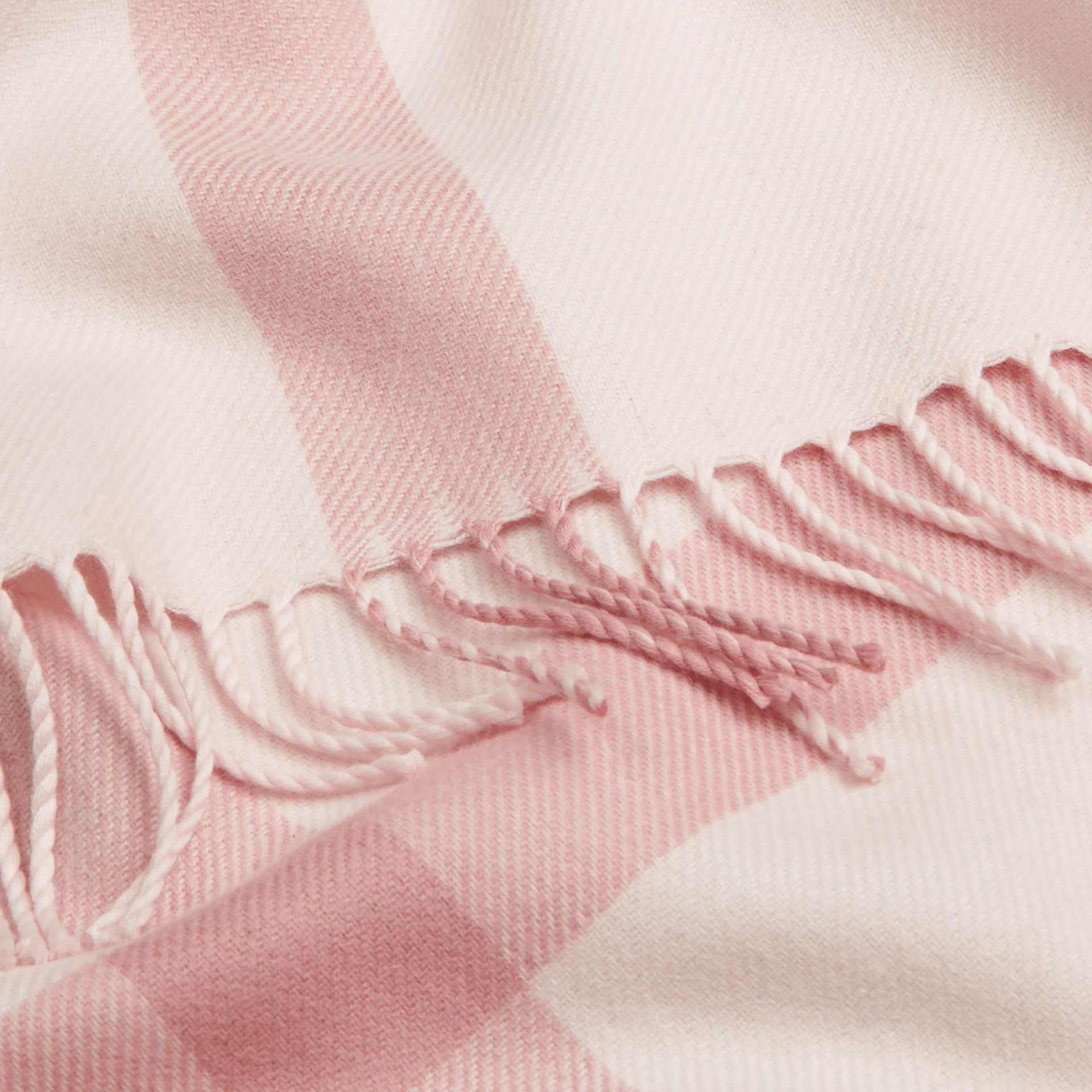 Check Merino Wool Baby Blanket in Powder Pink | Burberry - gallery image 2
