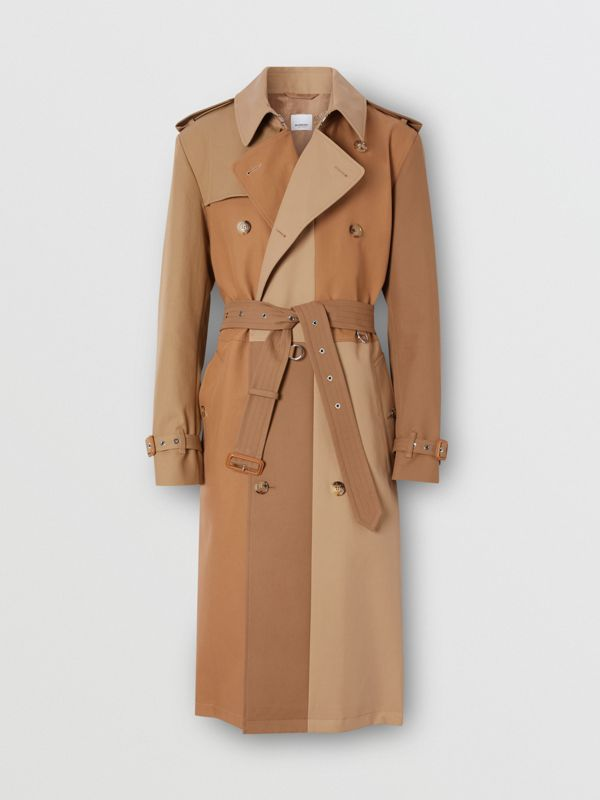 Panelled Cotton Trench Coat in Warm Camel - Men | Burberry Singapore - cell image 3