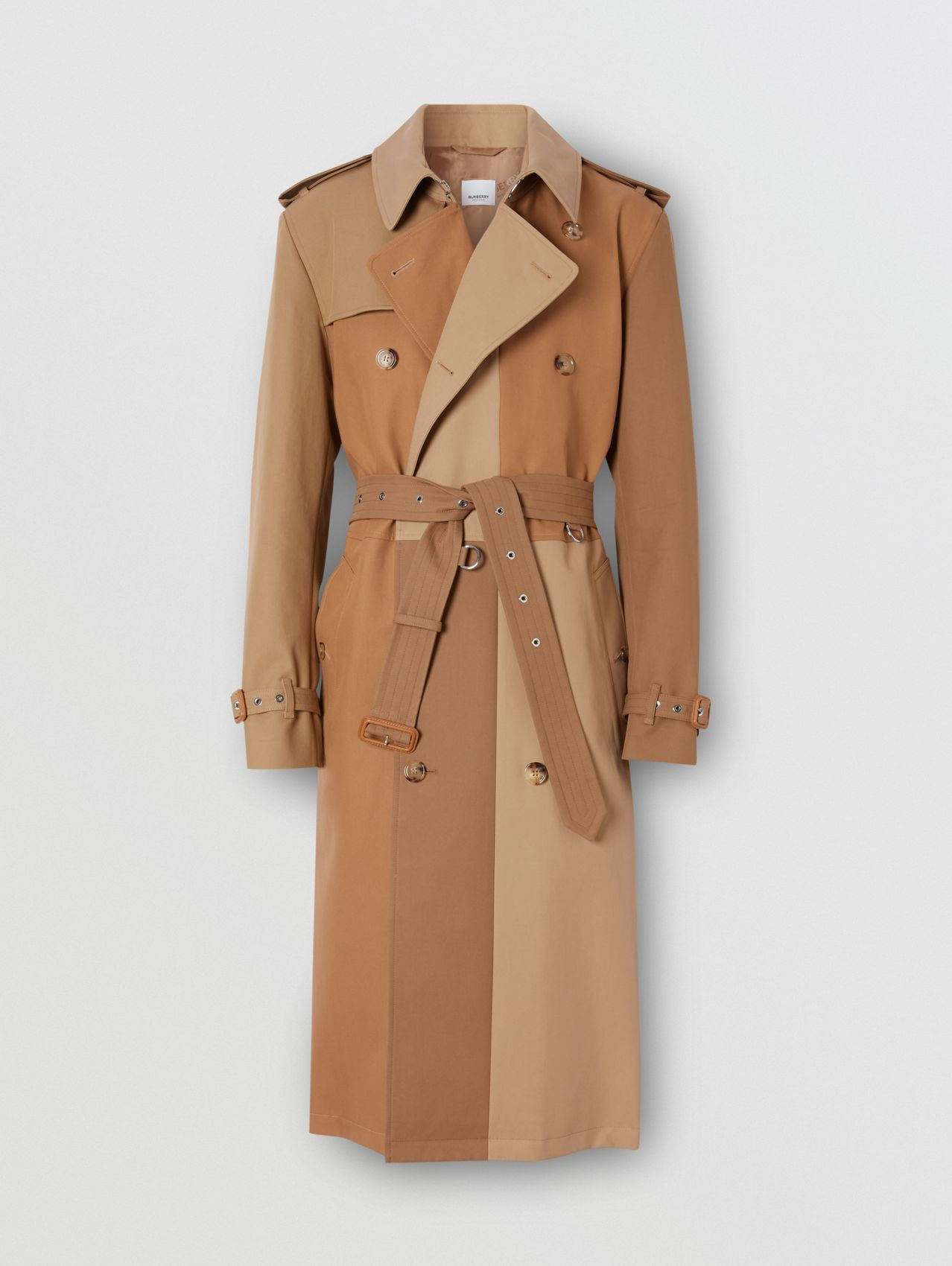 Panelled Cotton Trench Coat in Warm Camel