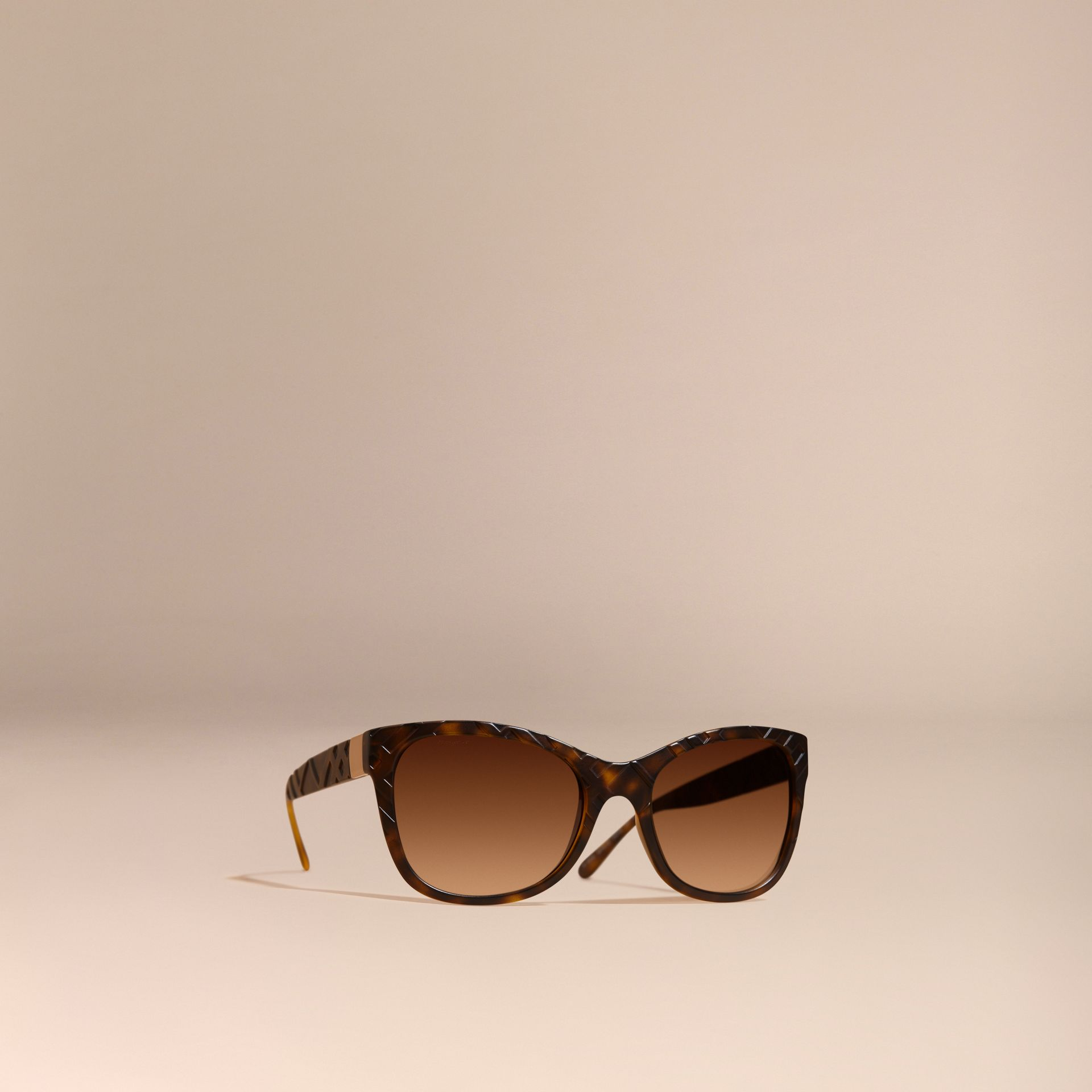 Tortoise shell 3D Check Square Frame Sunglasses Tortoise Shell - gallery image 1