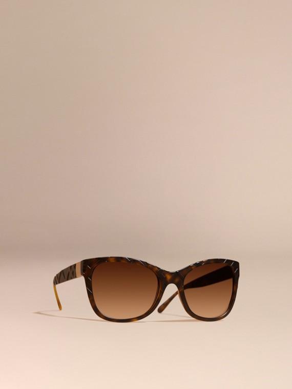 3D Check Square Frame Sunglasses Tortoise Shell