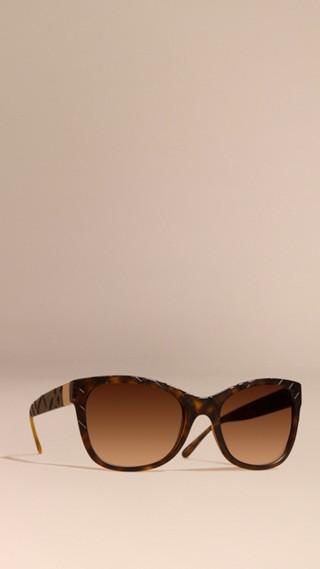 3D Check Square Frame Sunglasses