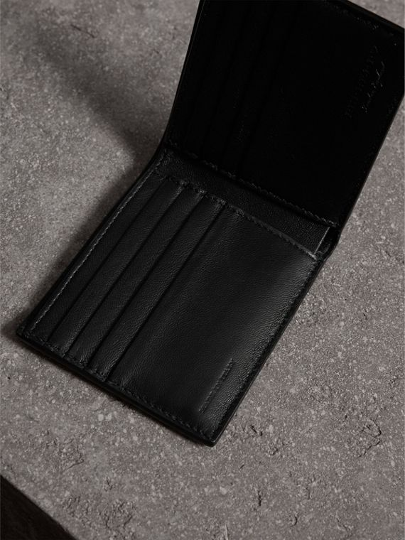 Riveted Leather International Bifold Wallet in Black - Men | Burberry Australia - cell image 3