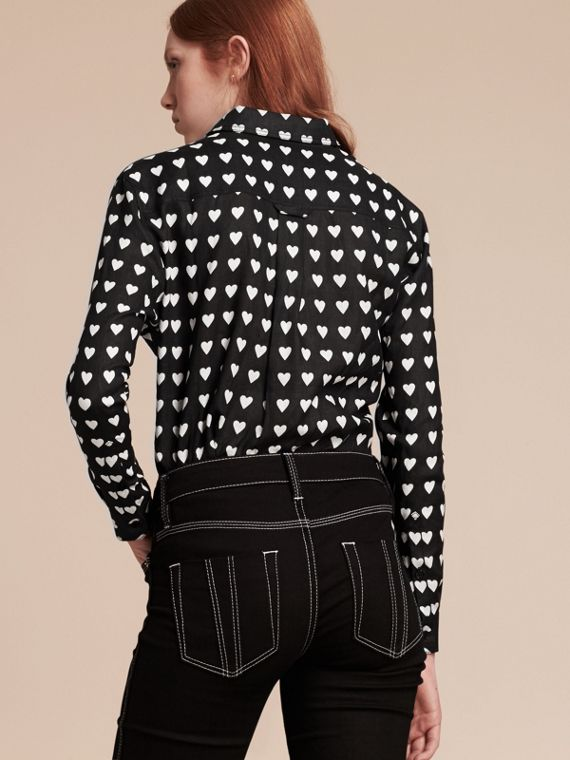 Heart Print Linen Shirt Black - cell image 2