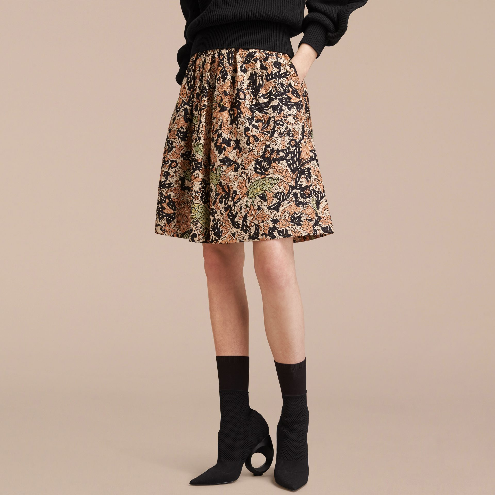 Beasts Print Technical Silk Voluminous Skirt - Women | Burberry - gallery image 6