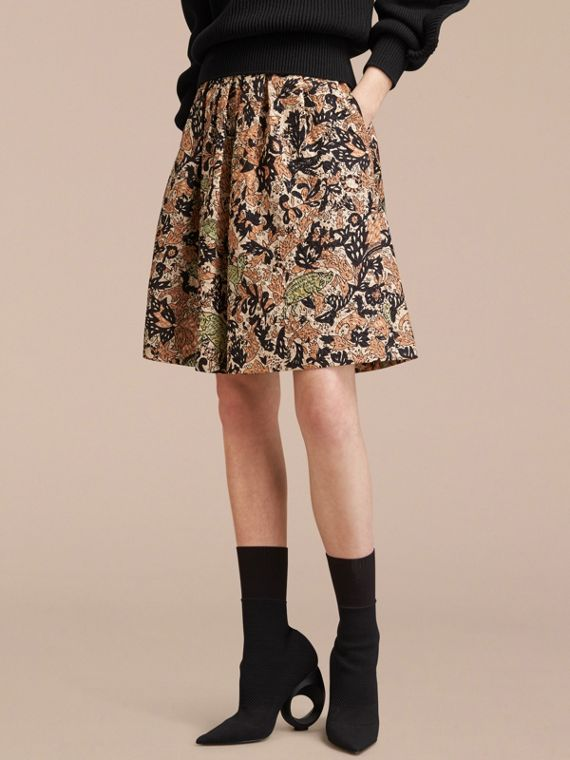 Beasts Print Technical Silk Voluminous Skirt - Women | Burberry Singapore