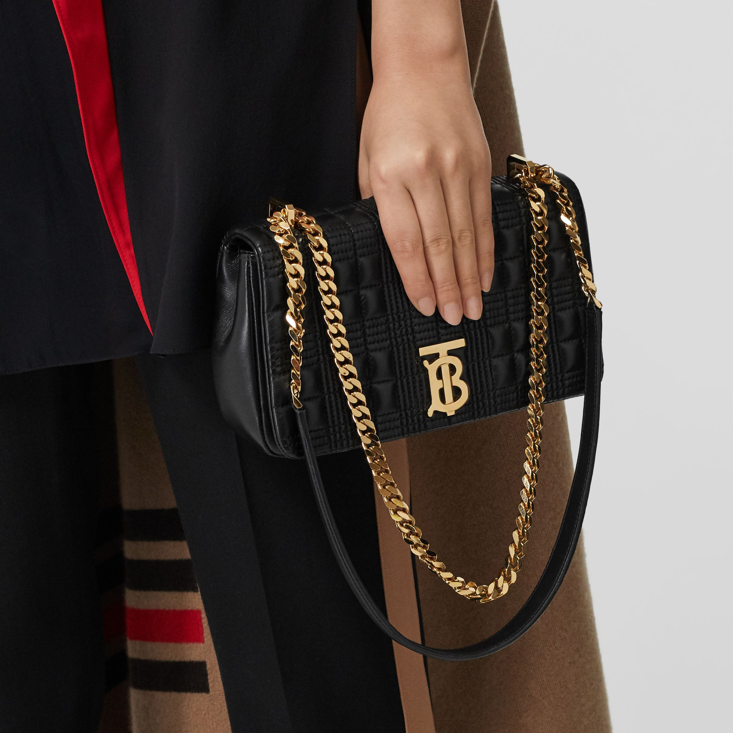 Small Quilted Lambskin Lola Bag in Black/light Gold | Burberry - 3