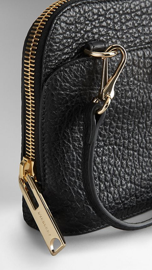 Black Small Signature Grain Leather Crossbody Bag - Image 6