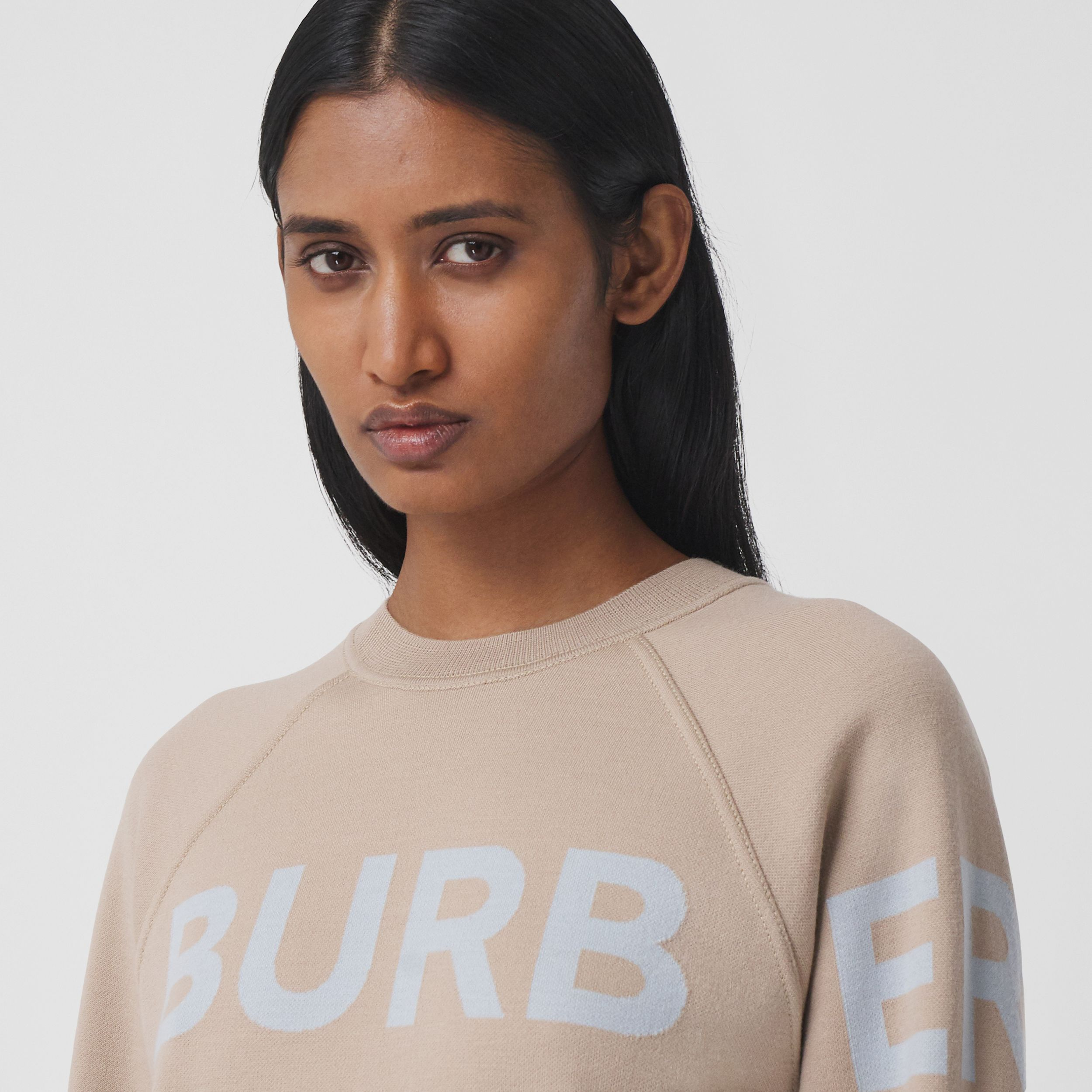 Horseferry Wool Blend Jacquard Sweater in Soft Fawn - Women | Burberry - 2