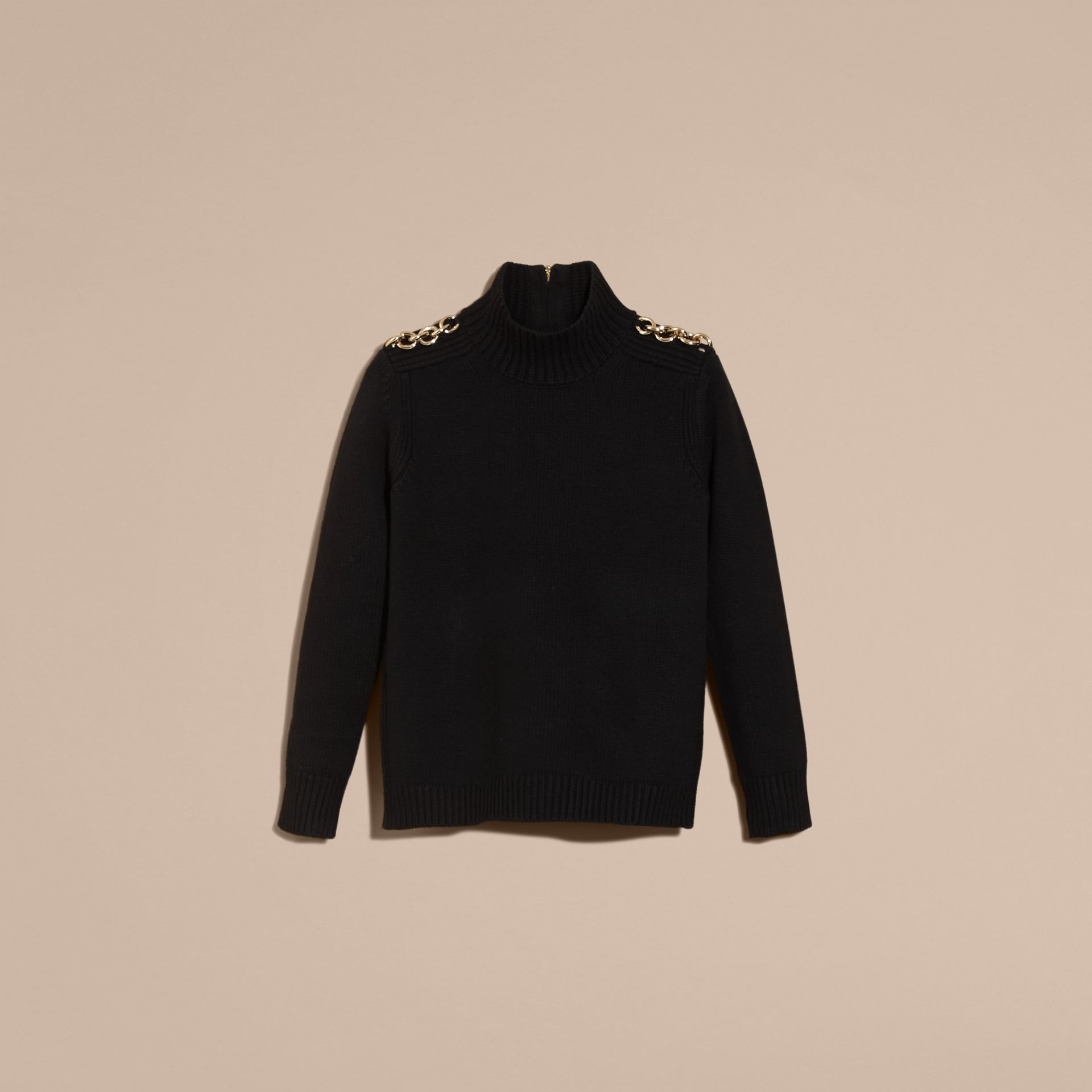 Black Regimental Detail Wool Cashmere High-neck Sweater - gallery image 4