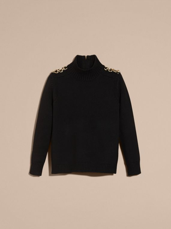 Black Regimental Detail Wool Cashmere High-neck Sweater - cell image 3