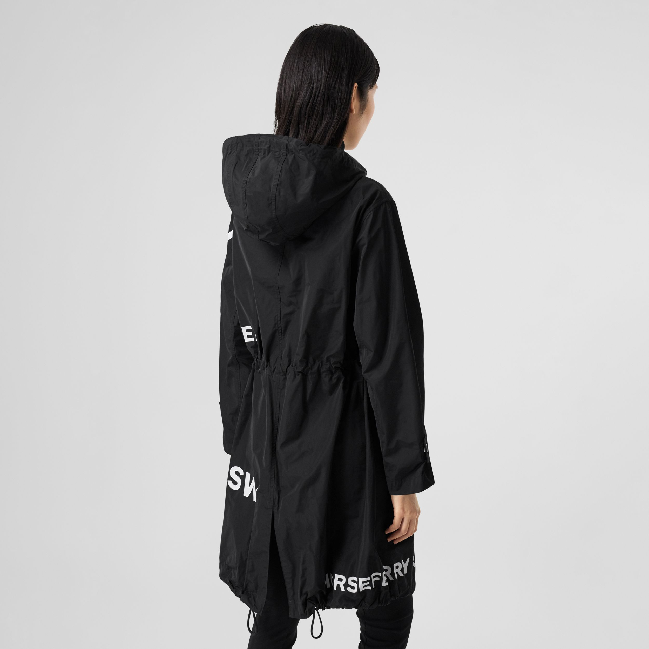 Horseferry Print Nylon Parka in Black - Women | Burberry - 3