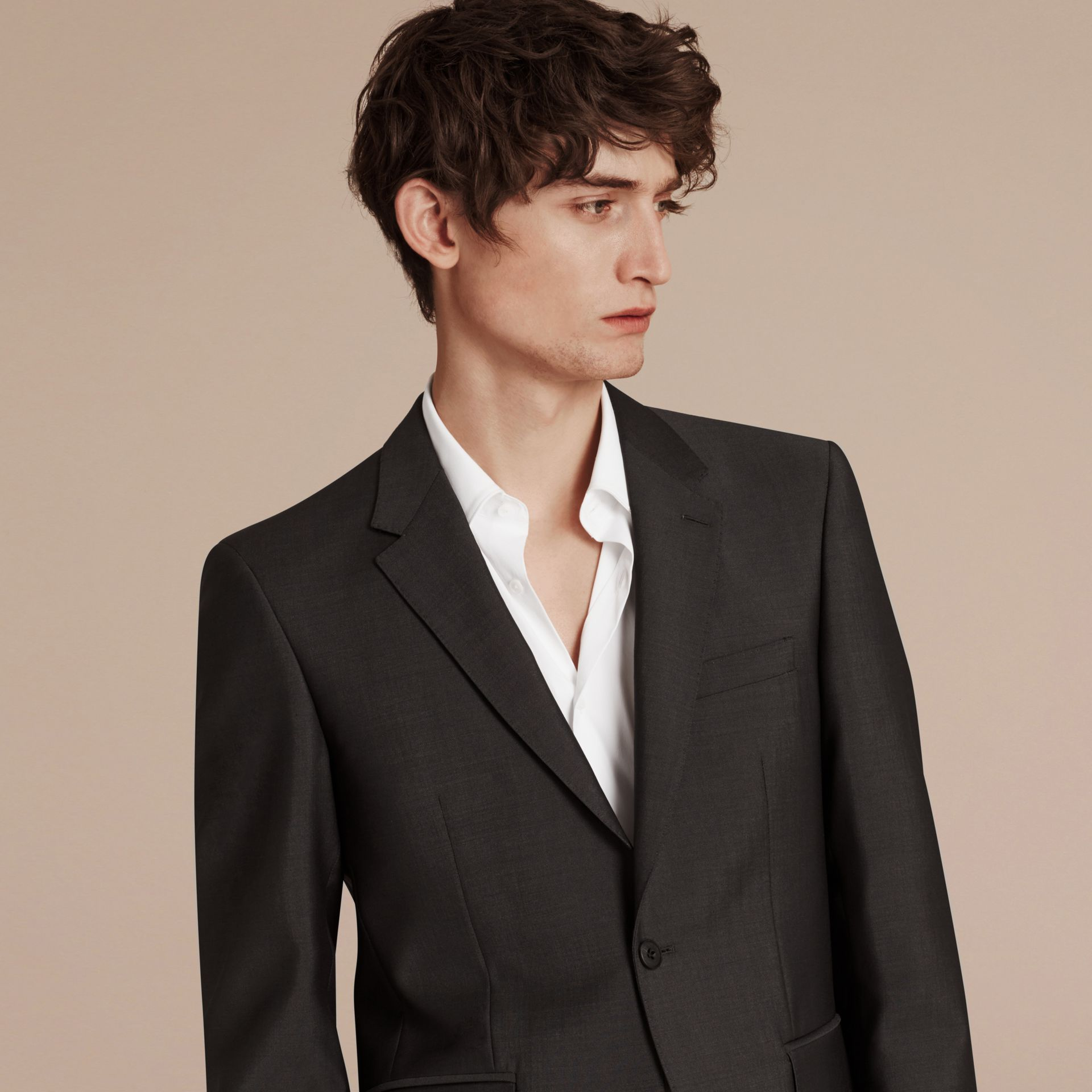 Dark grey Modern Fit Wool Mohair Part-canvas Suit Dark Grey - gallery image 4