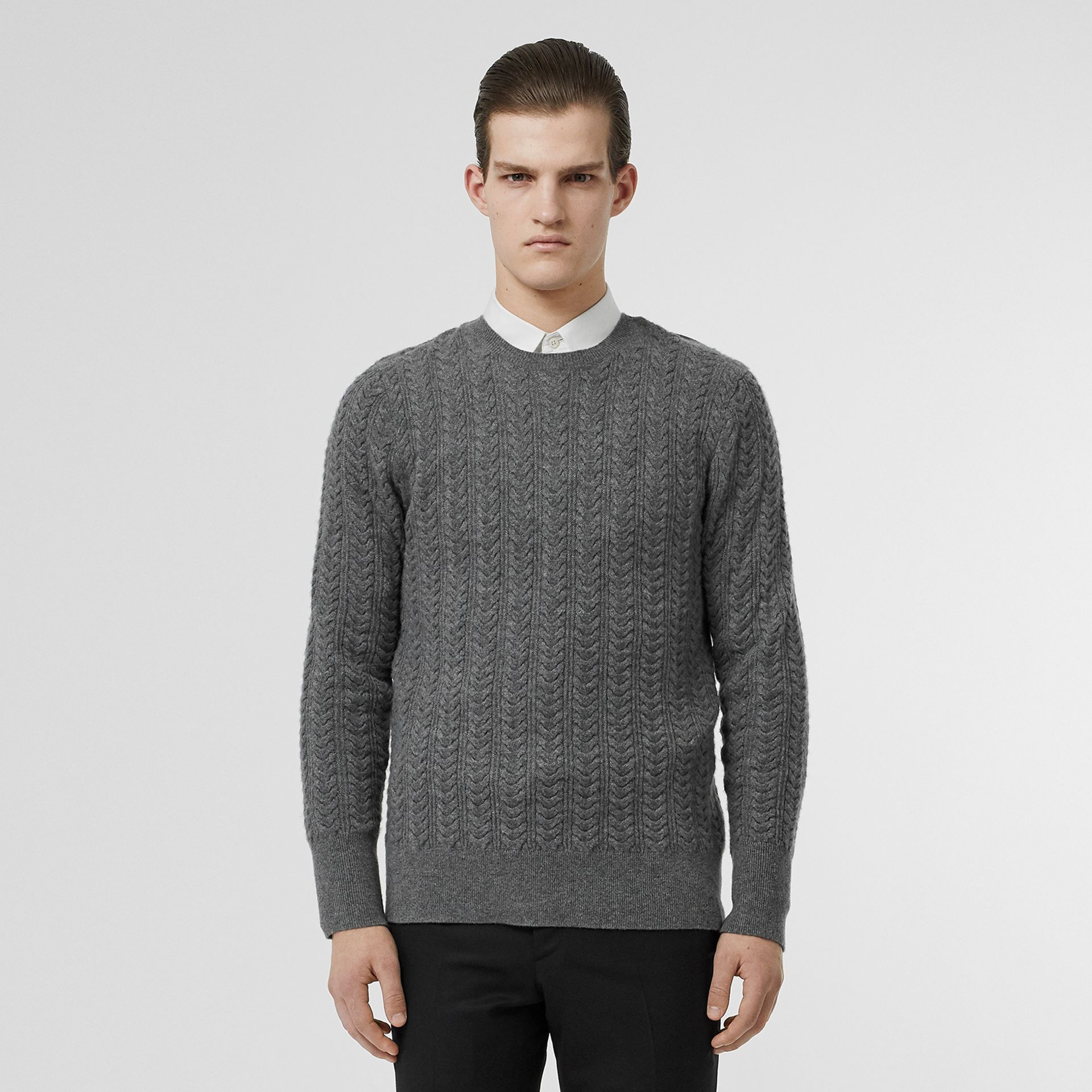Cable Knit Cashmere Sweater in Mid Grey Melange - Men | Burberry - gallery image 0