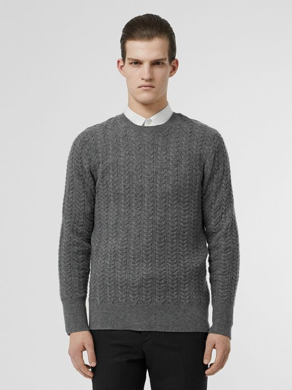 Cable Knit Cashmere Sweater in Mid Grey Melange