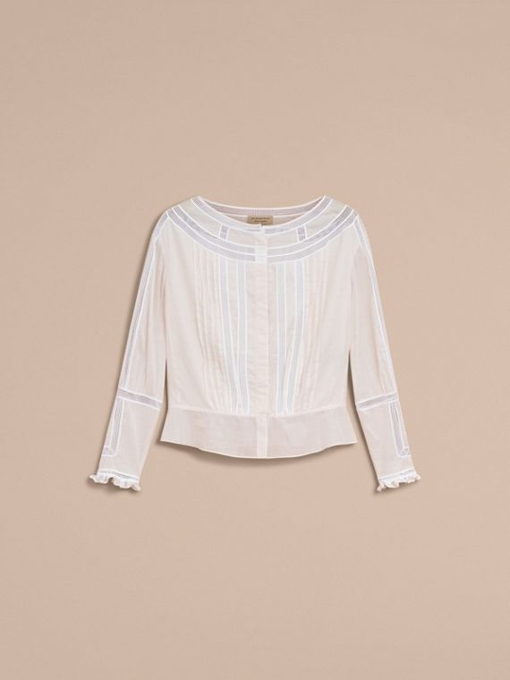 Lace and Pleat Detail Cotton Voile Top in Natural White - Women | Burberry - cell image 3