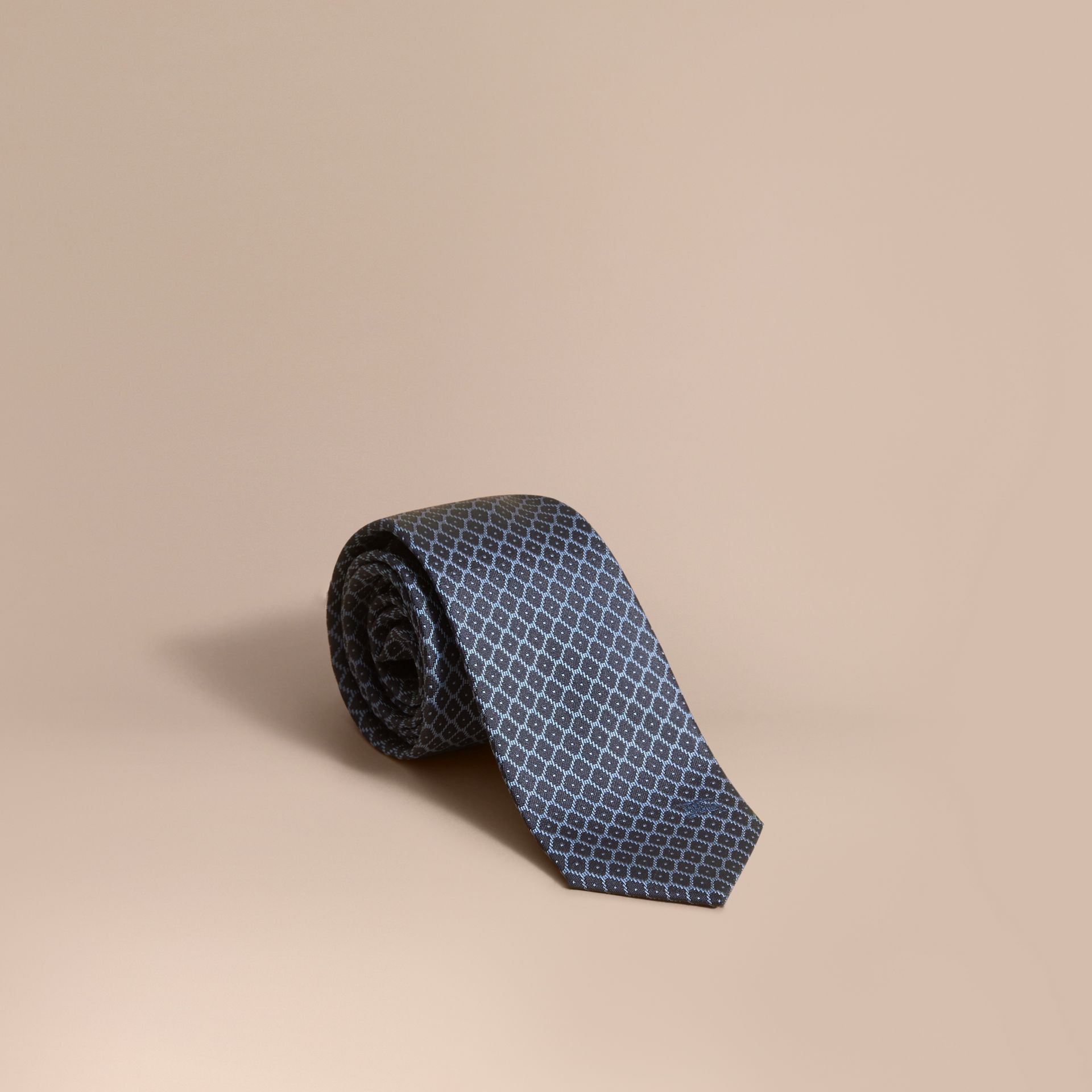 Modern Cut Silk Jacquard Tie in Navy/mineral Blue - gallery image 1