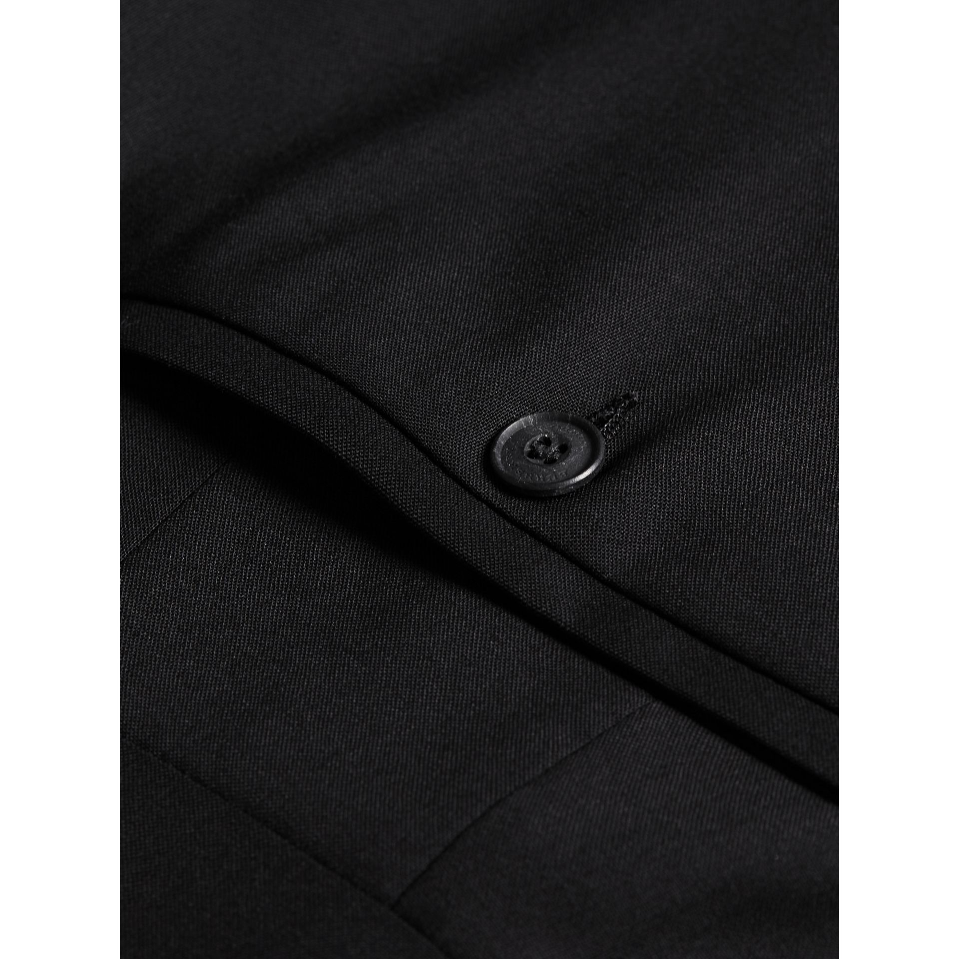 Slim Fit Wool Trousers in Black - Men | Burberry Australia - gallery image 1