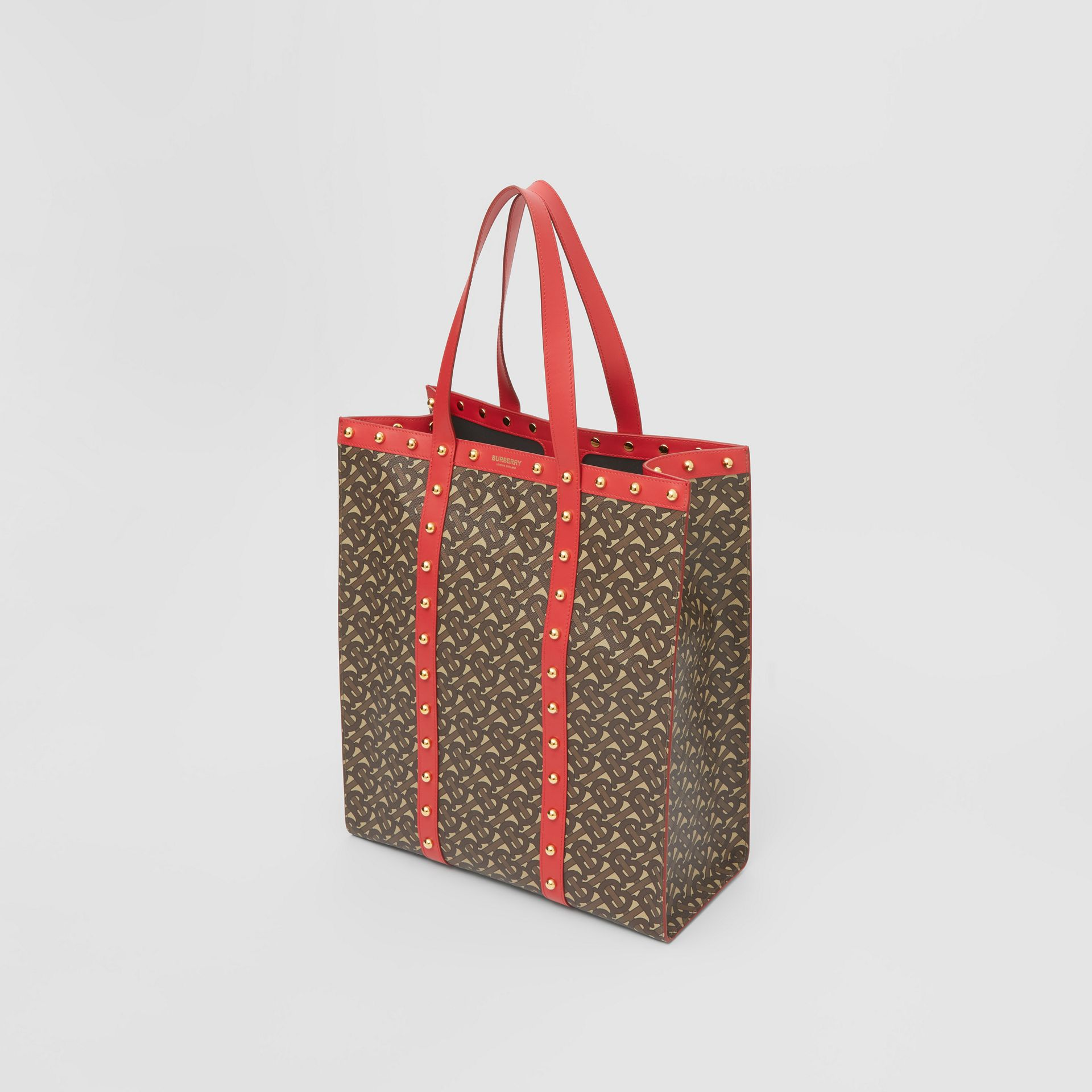 Monogram Print E-canvas Portrait Tote Bag in Bright Red - Women | Burberry - gallery image 4