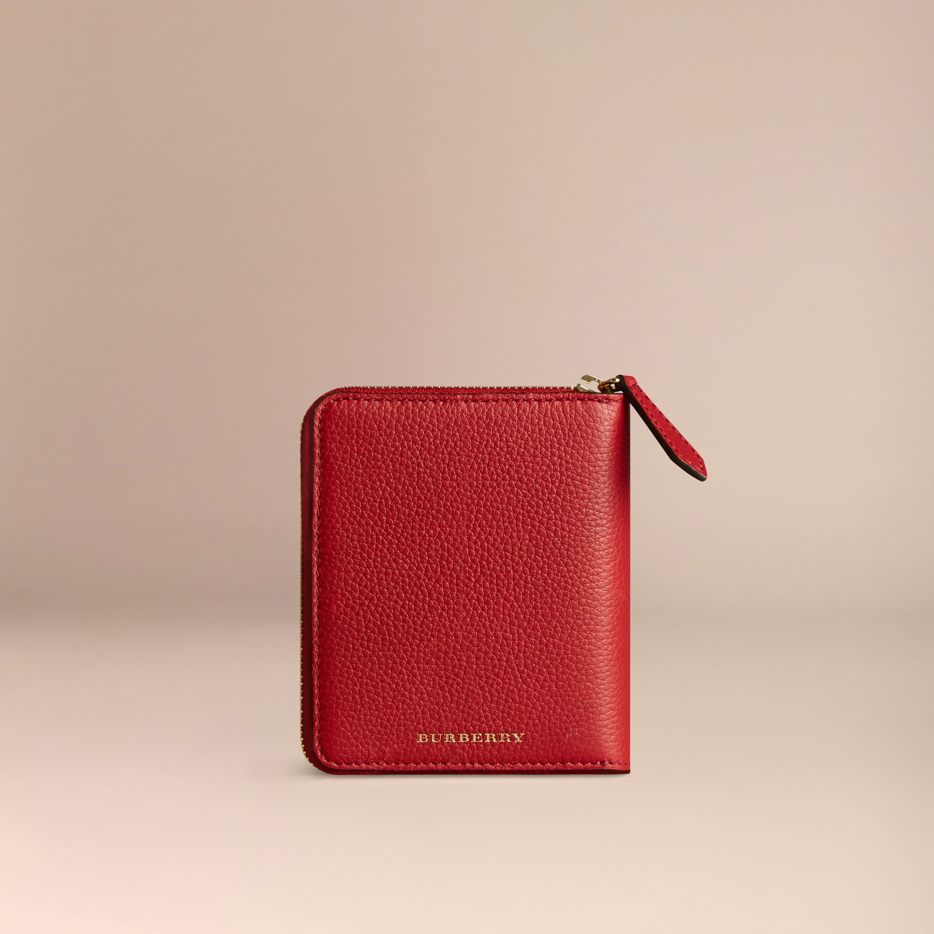 Ziparound Grainy Leather Mini Notebook in Parade Red | Burberry Australia - gallery image 4