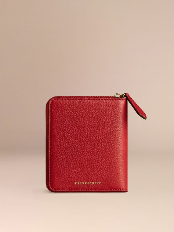 Ziparound Grainy Leather Mini Notebook in Parade Red | Burberry - cell image 3