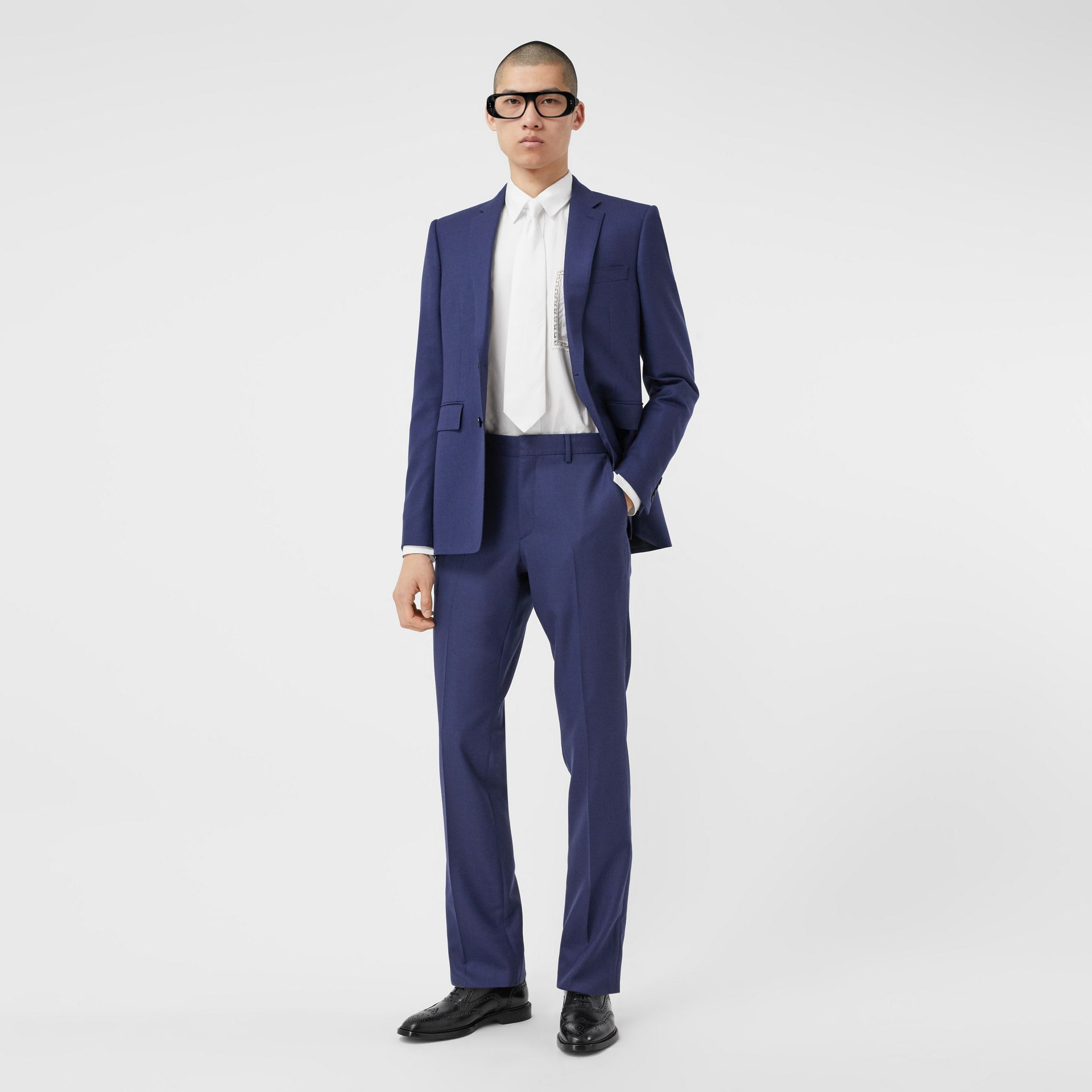 Classic Fit Birdseye Wool Tailored Trousers in Bright Navy - Men | Burberry Hong Kong S.A.R - gallery image 0