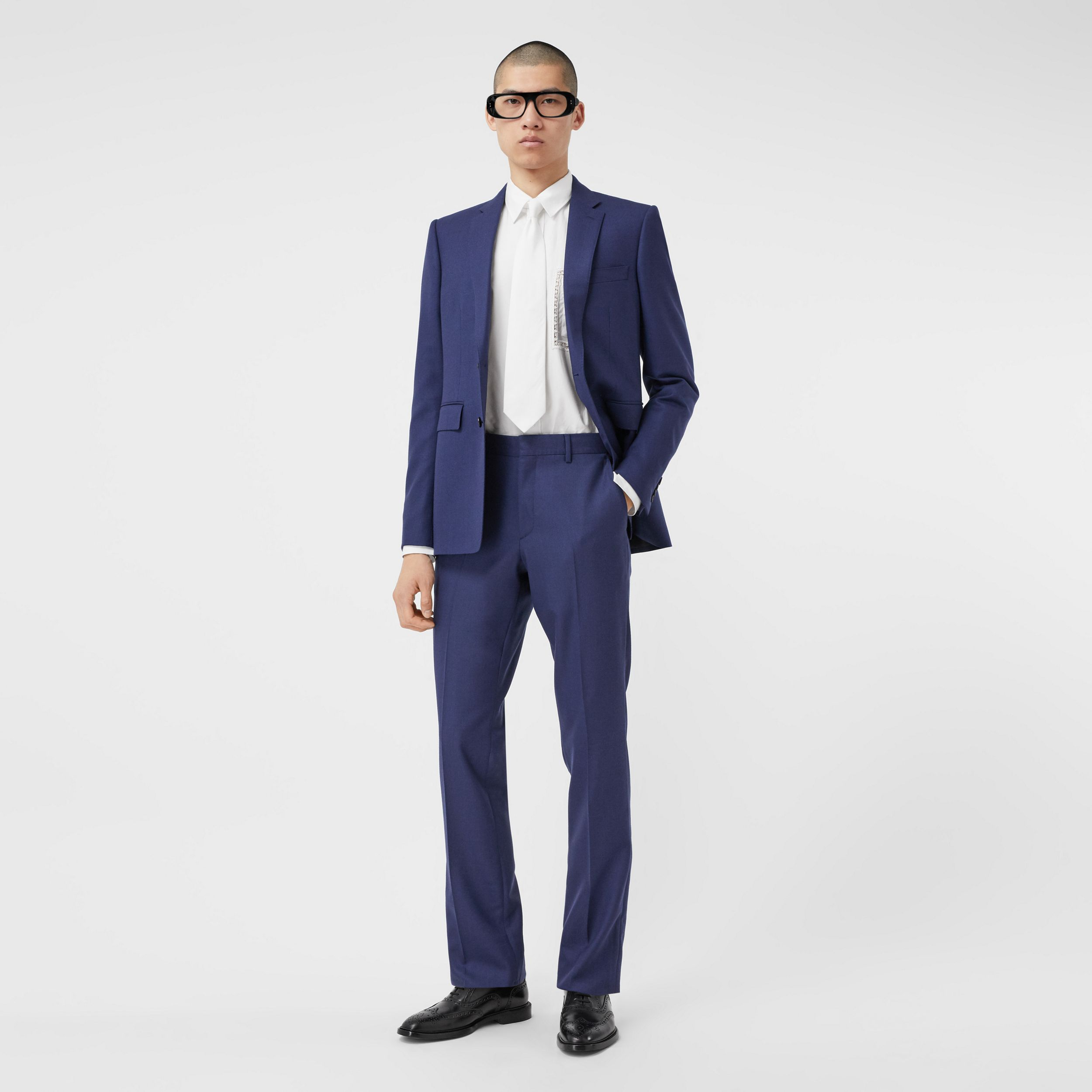 Classic Fit Birdseye Wool Tailored Trousers in Bright Navy - Men | Burberry Australia - 1