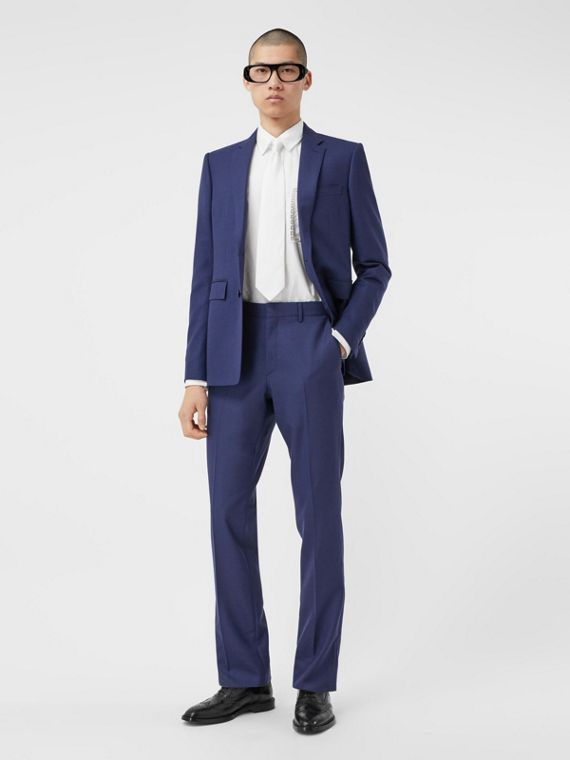 Classic Fit Birdseye Wool Tailored Trousers in Bright Navy
