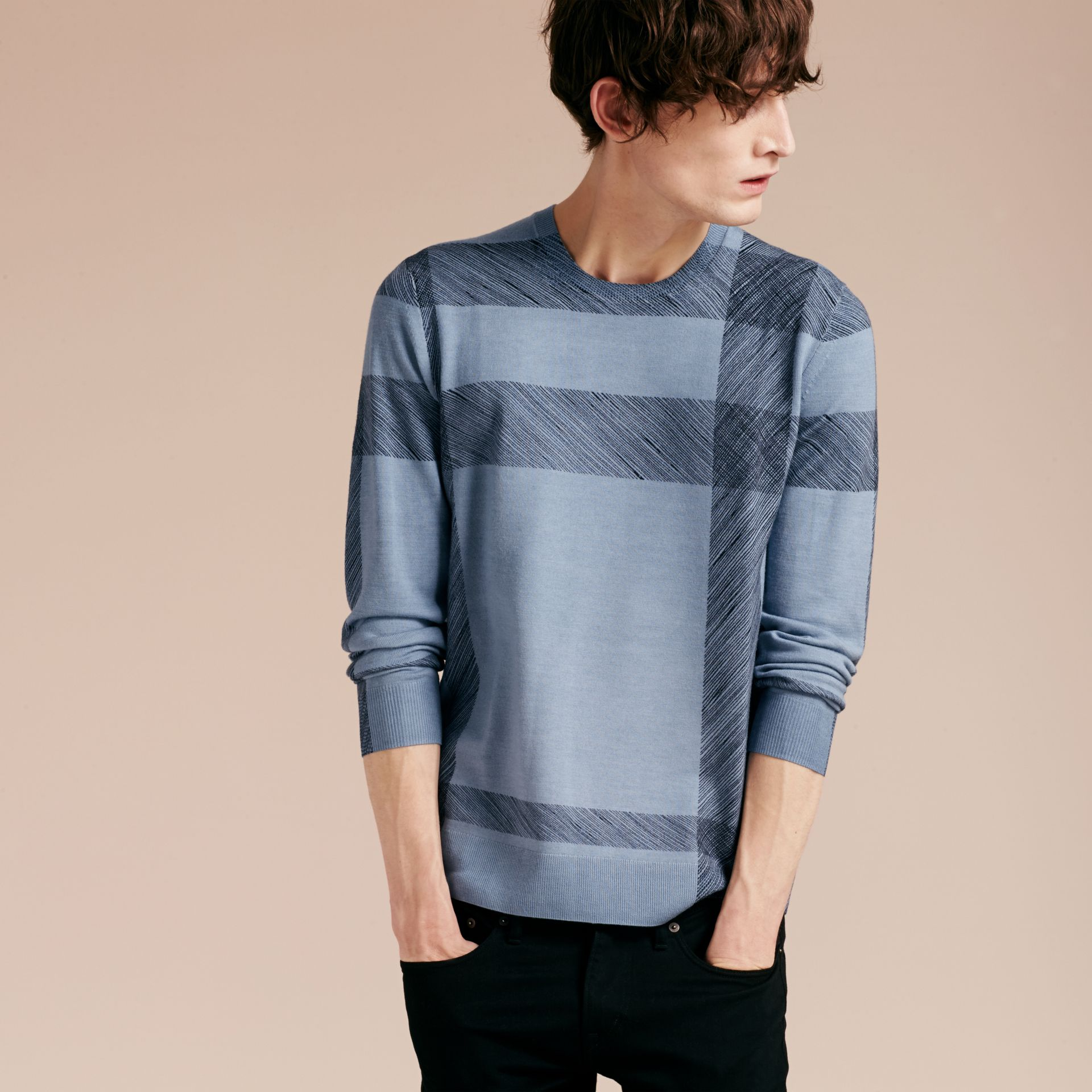 Light blue Abstract Check Merino Wool Sweater - gallery image 5
