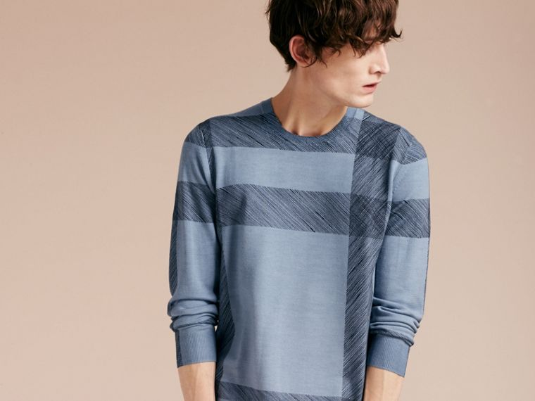 Light blue Abstract Check Merino Wool Sweater - cell image 4