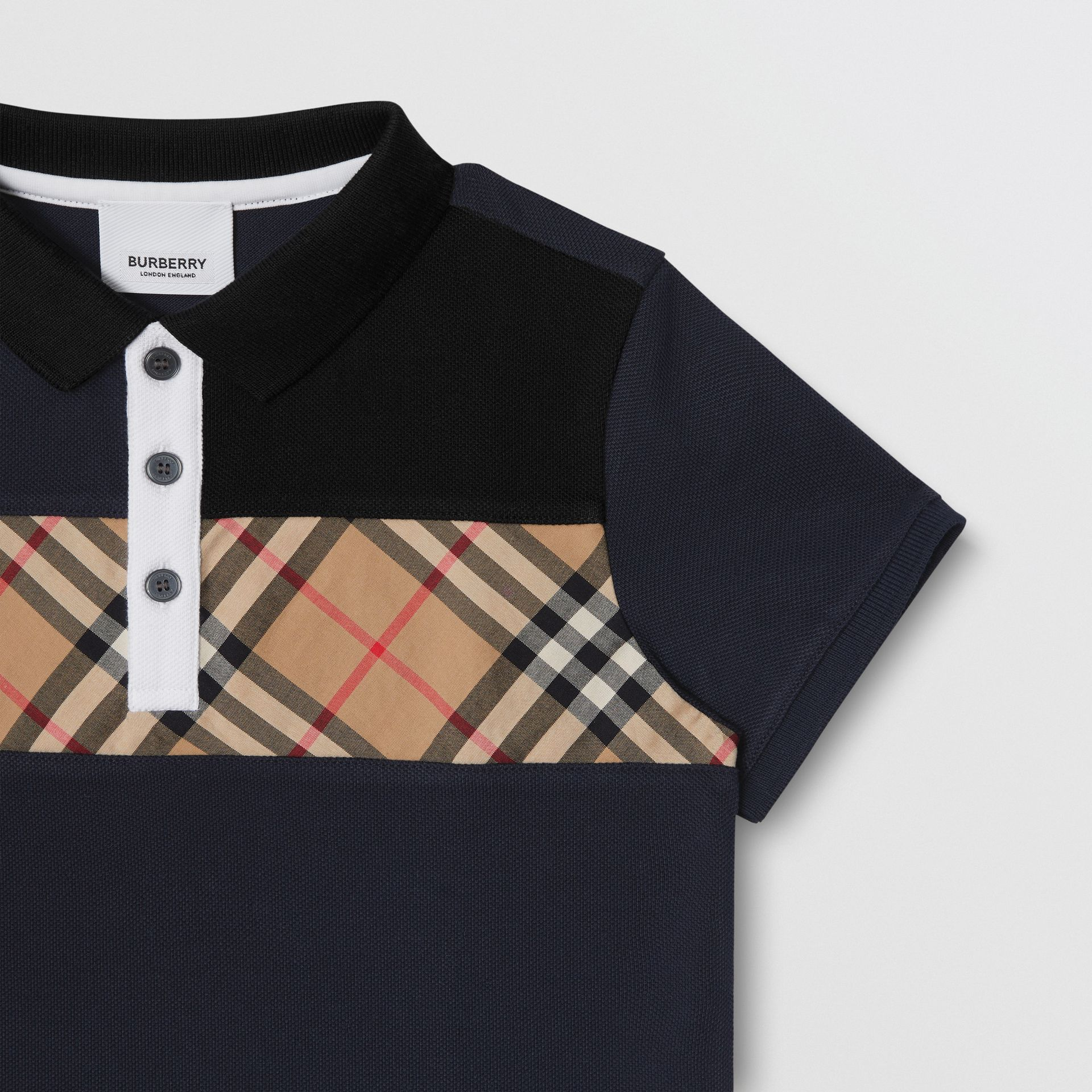 Vintage Check Panel Cotton Polo Shirt in Navy | Burberry United States - gallery image 4