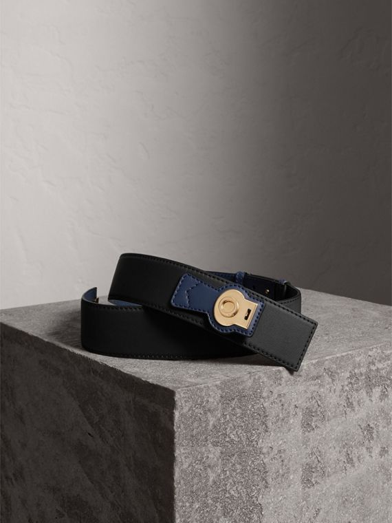 Two-tone Trench Leather Belt in Black / Ink Blue - Women | Burberry