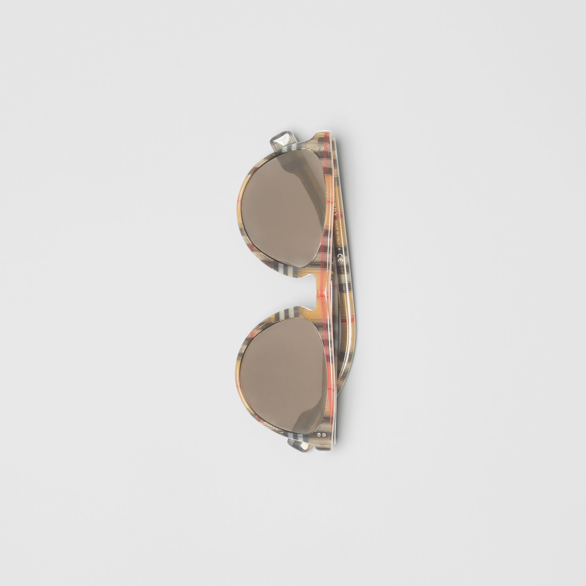 Vintage Check Keyhole D-shaped Sunglasses in Antique Yellow - Men | Burberry United Kingdom - gallery image 2