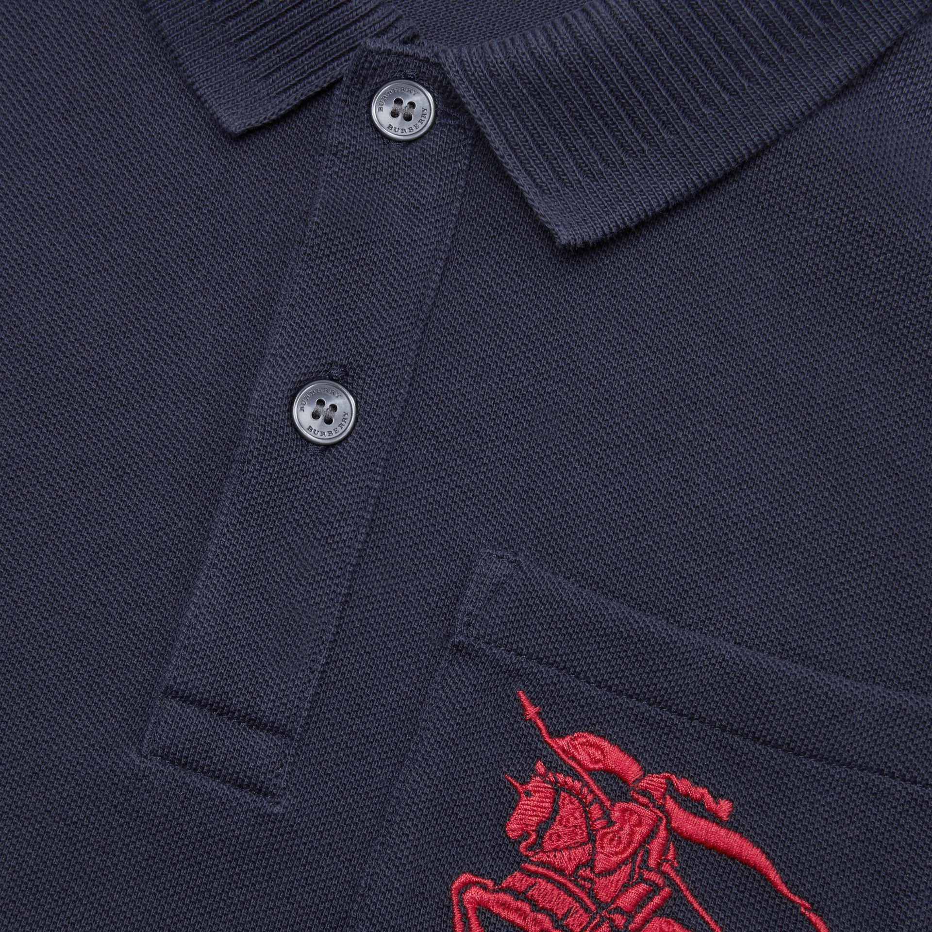 EKD Logo Cotton Piqué Polo Shirt in Navy | Burberry - gallery image 1
