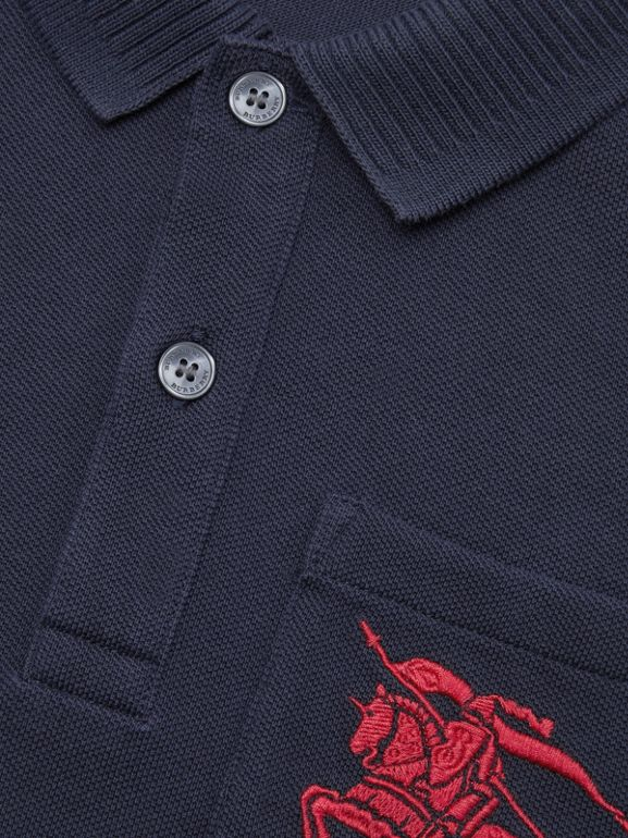 EKD Logo Cotton Piqué Polo Shirt in Navy | Burberry - cell image 1