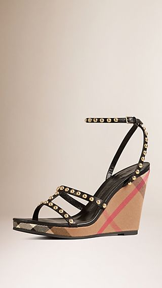 Studded House Check Leather Wedges