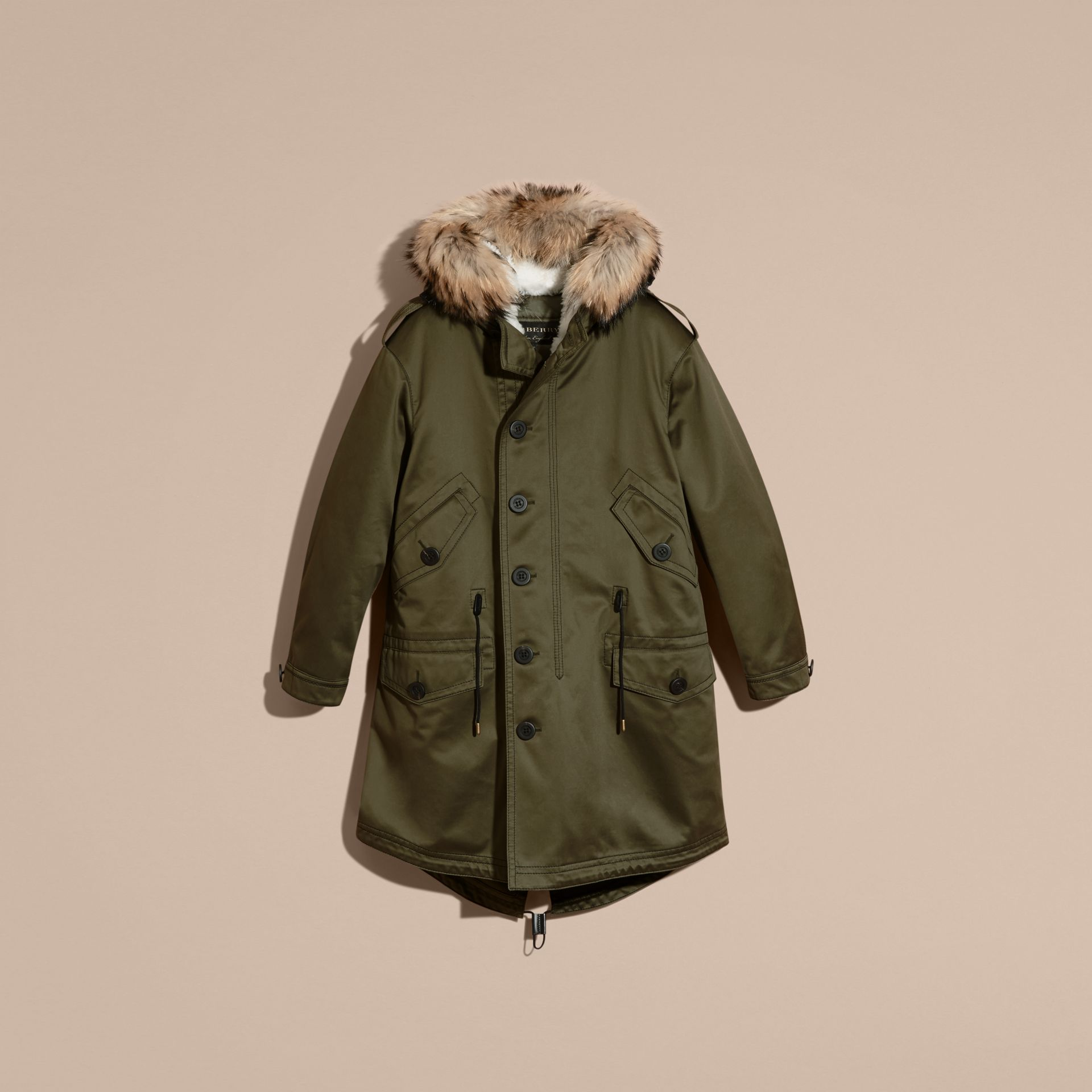 Military green Shearling Lined Cotton Canvas Parka - gallery image 4