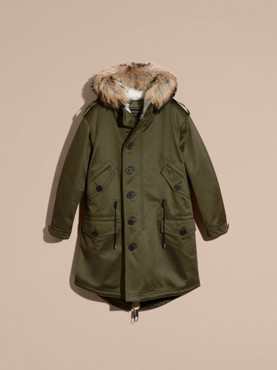 Military green Shearling Lined Cotton Canvas Parka - cell image 3