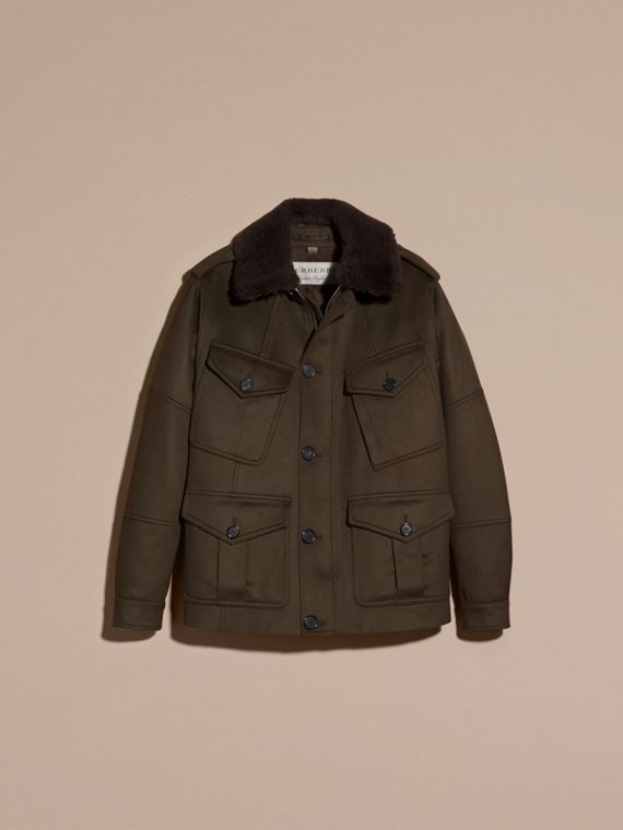 Dark green Shearling Topcollar Cashmere Field Jacket - cell image 3